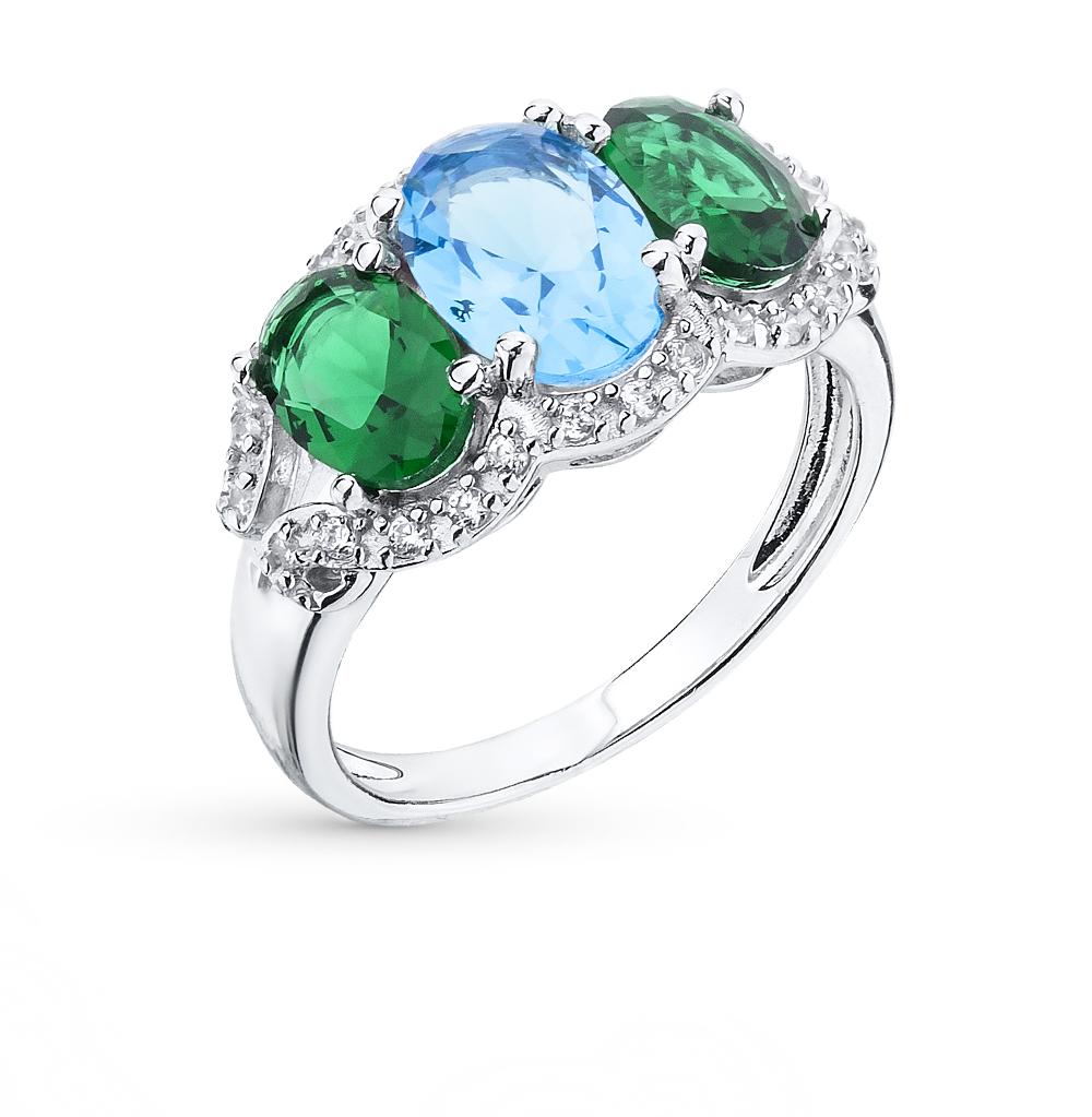 Фото «серебряное кольцо с фианитами, изумрудами синтетическими и сапфирами синтетическими»