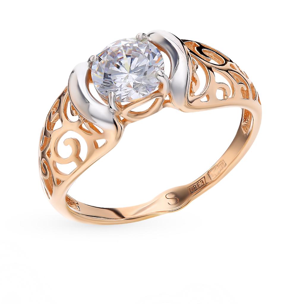 золотое кольцо с фианитами SOKOLOV 017827*