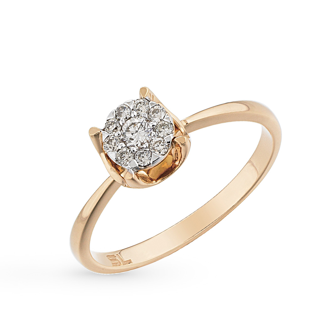 14685aa7ad3b Золотое кольцо с бриллиантами SUNLIGHT  жёлтое золото 585 пробы ...
