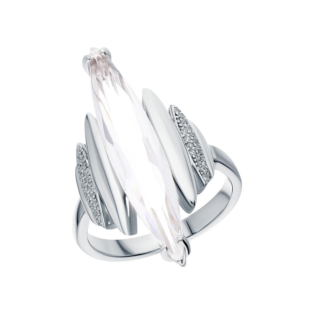 Фото «Серебряное кольцо с кварцем и кубическими циркониями»
