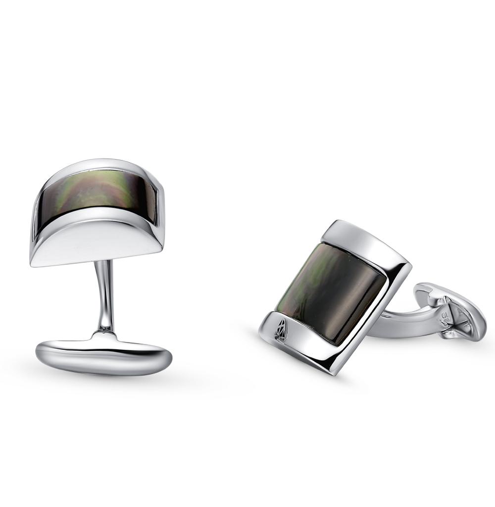 запонки из серебра с перламутром