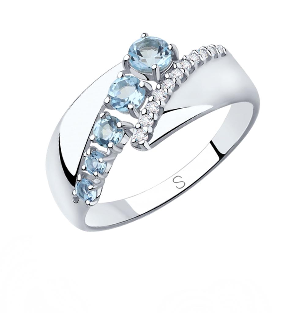 Серебряное кольцо с топазами и фианитами SOKOLOV 92011814 в Екатеринбурге