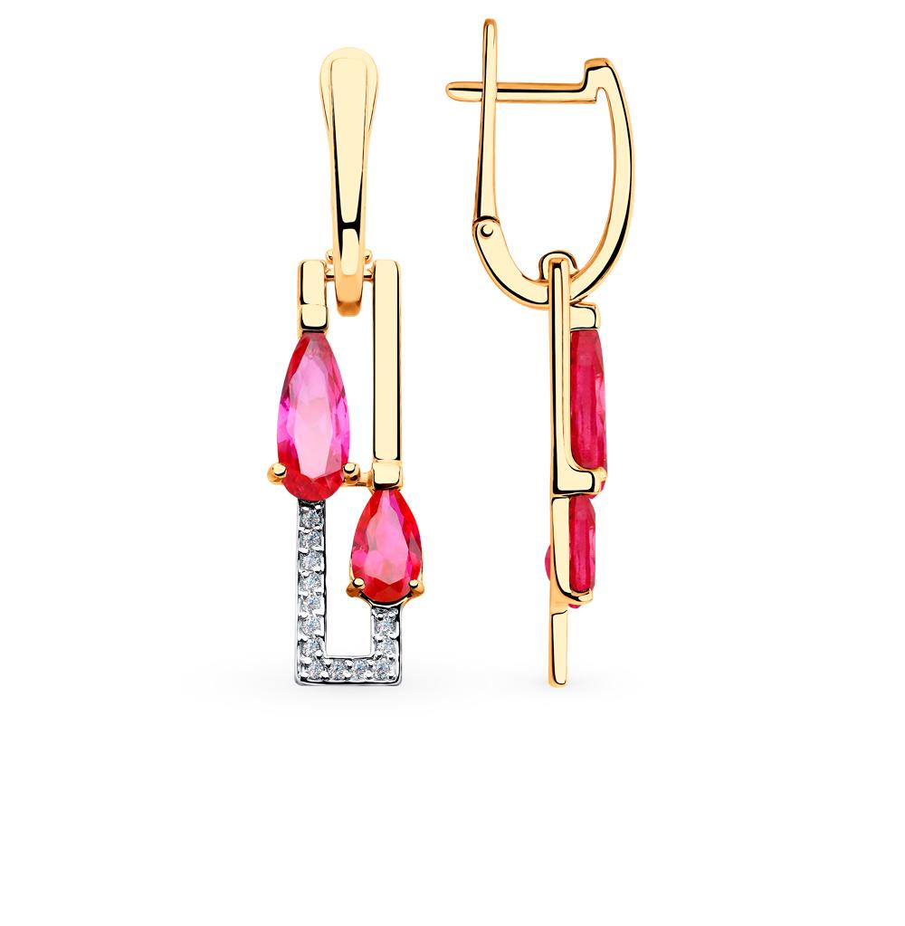 Фото «Золотые серьги с рубинами, корундом и фианитами SOKOLOV 725802*»