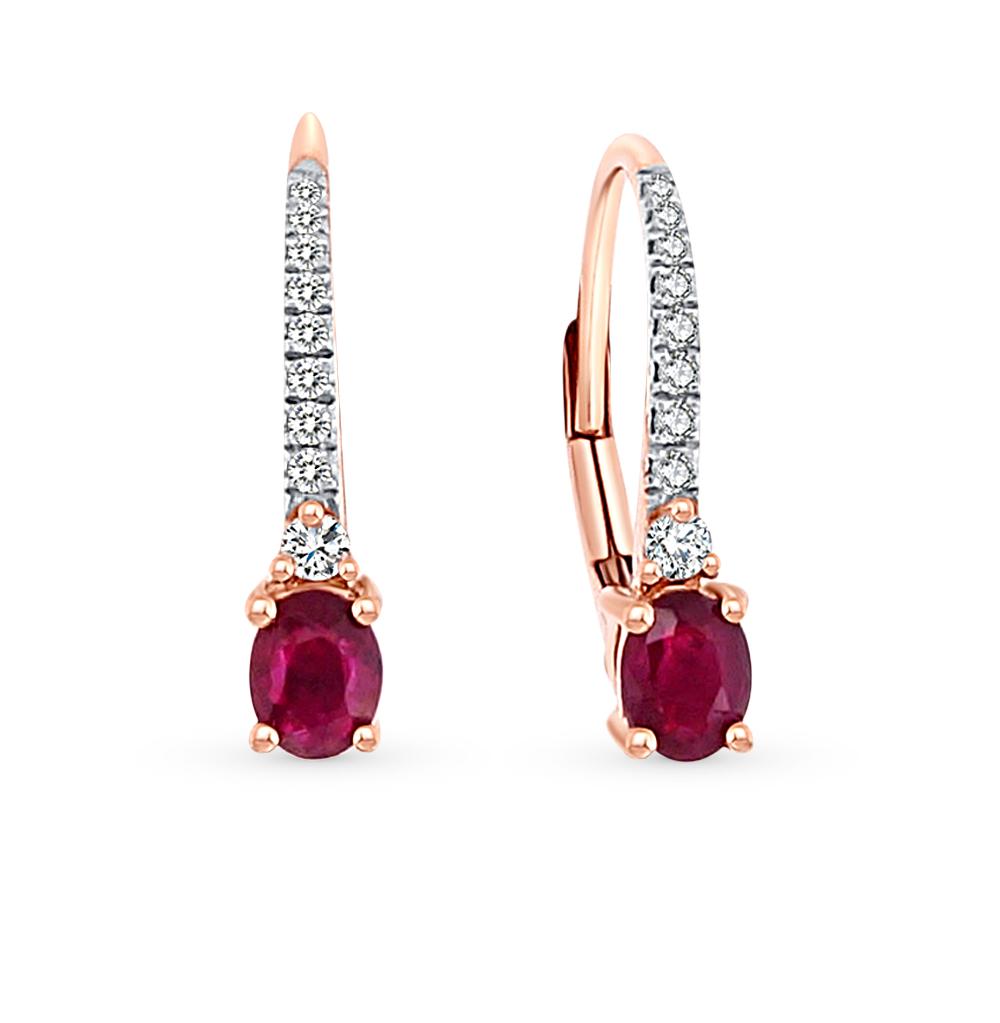 d8424cad13ad Золотые серьги с рубинами и бриллиантами SUNLIGHT  красное и розовое ...