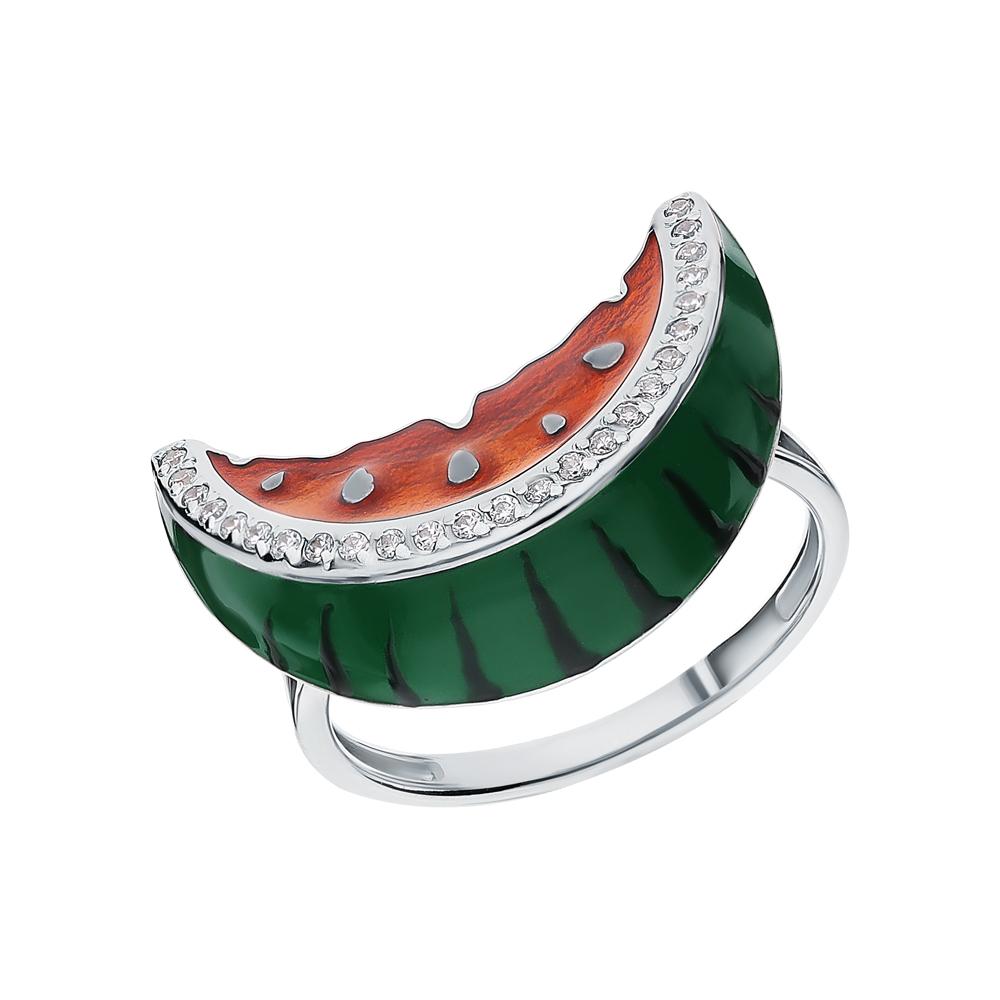 Серебряное кольцо с эмалью и фианитами swarovski в Екатеринбурге