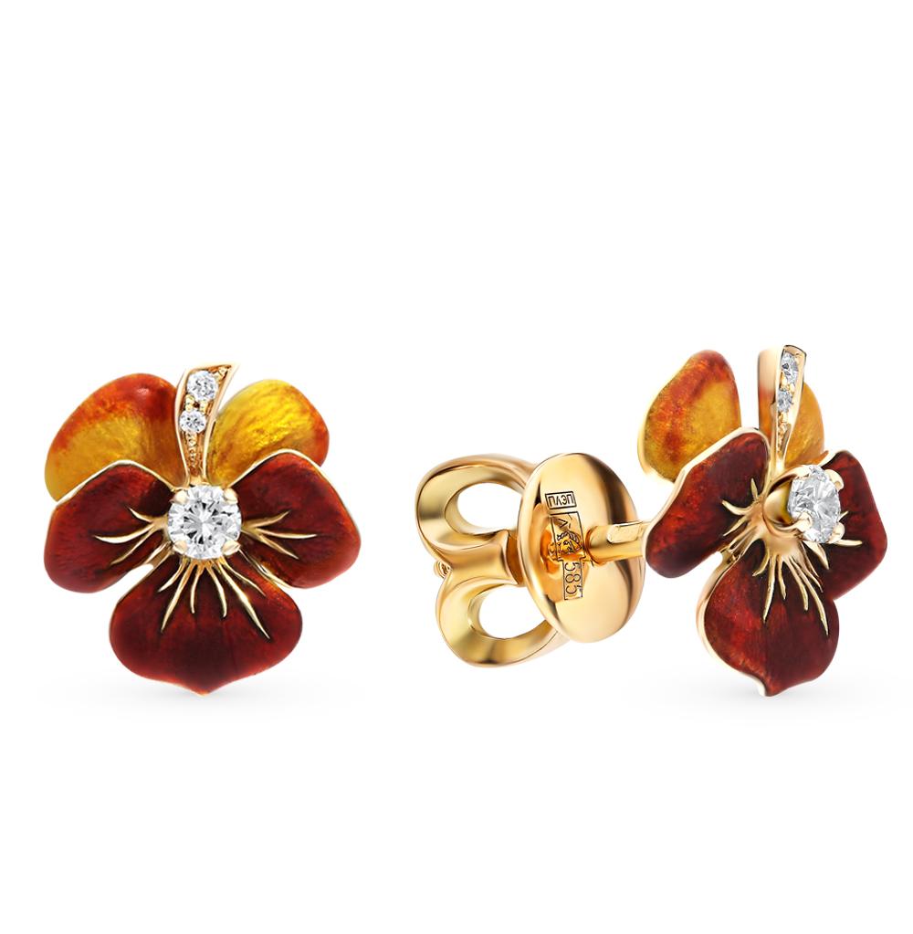 золотые серьги с эмалью и бриллиантами