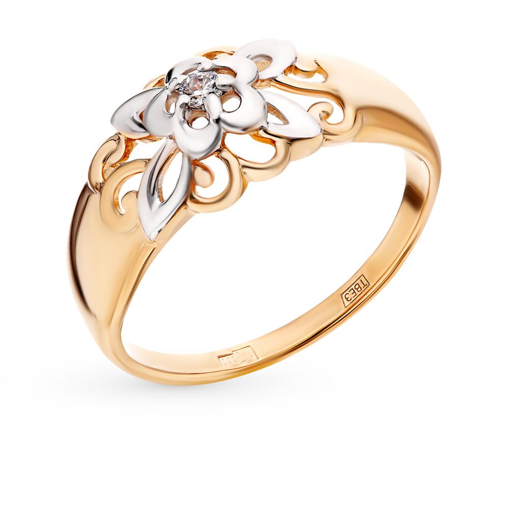 золотое кольцо с фианитами SOKOLOV 017573*