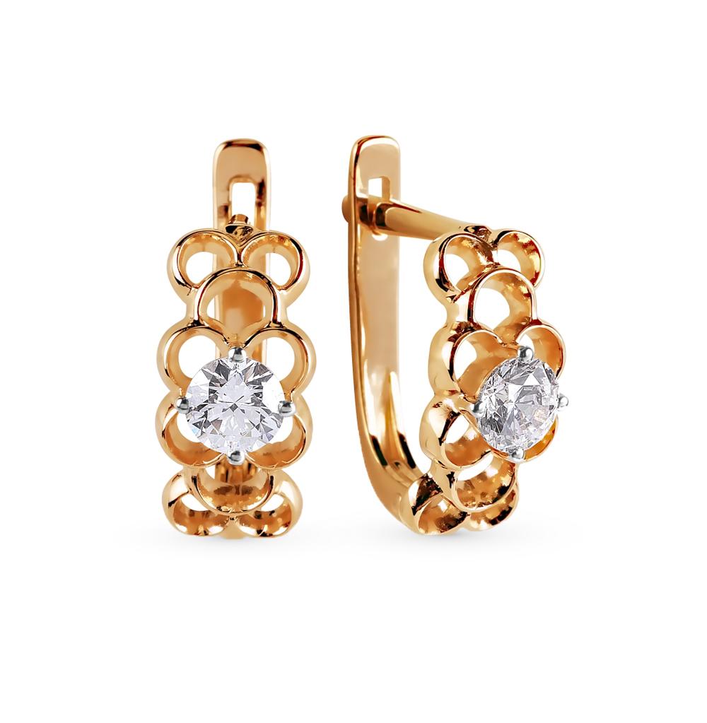 золотые серьги с кристаллами swarovski