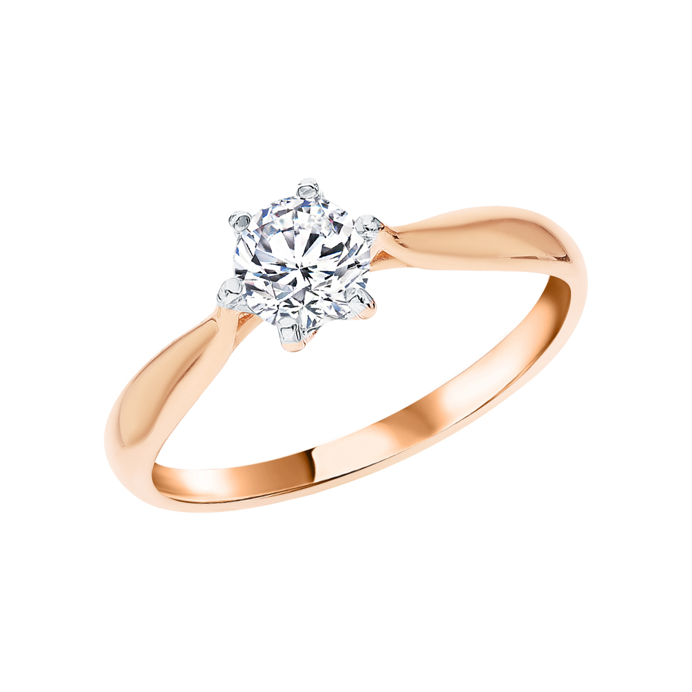 Фото «Золотое кольцо с фианитами SOKOLOV 81010285*»