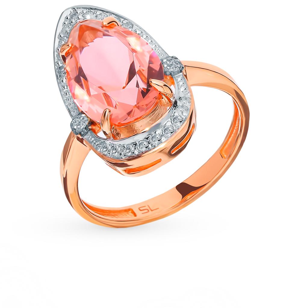 Золотое кольцо с коньячными бриллиантами и морганитом