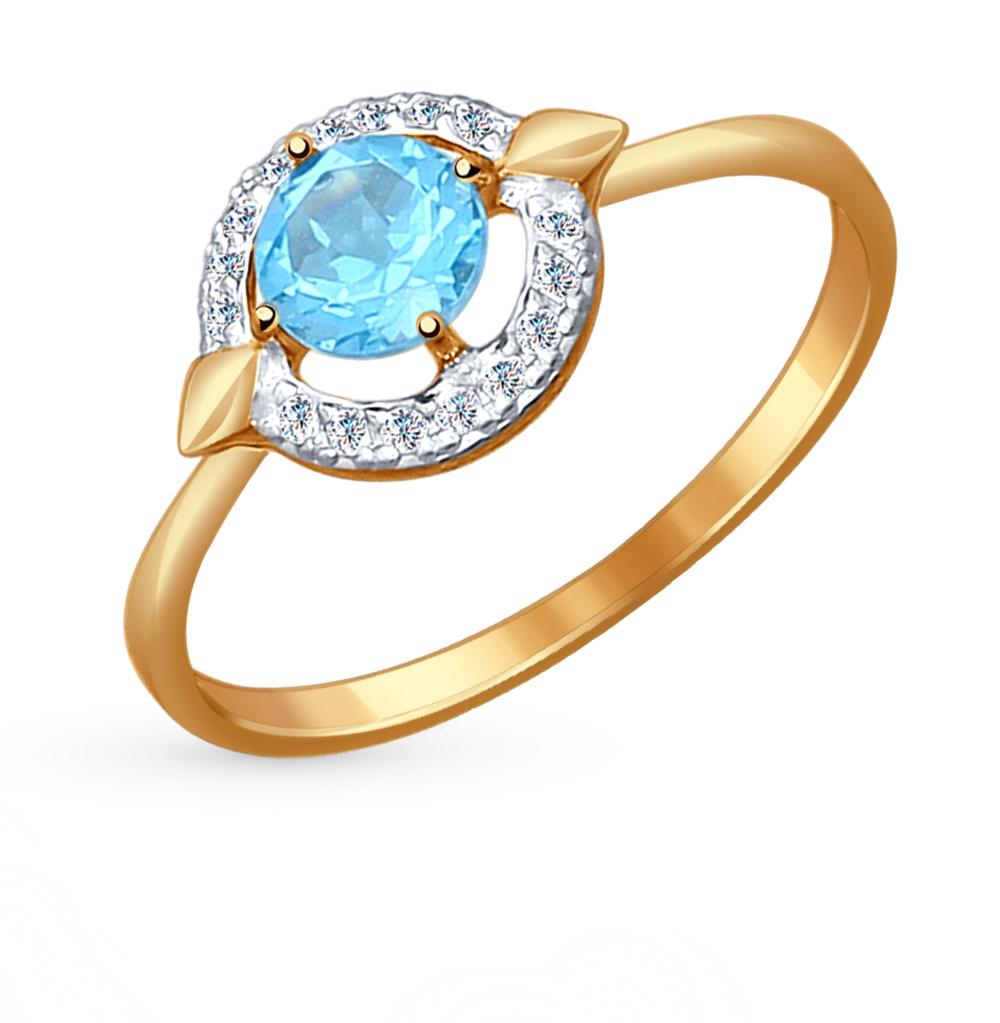 Золотое кольцо с топазами и фианитами SOKOLOV 714453* в Екатеринбурге