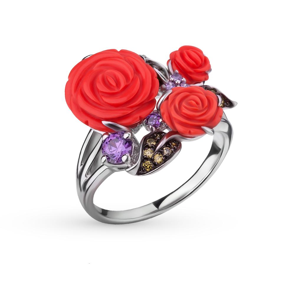Фото «серебряное кольцо с фианитами и кораллом»