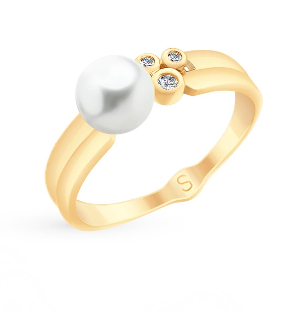 золотое кольцо с фианитами и жемчугом SOKOLOV 791071*
