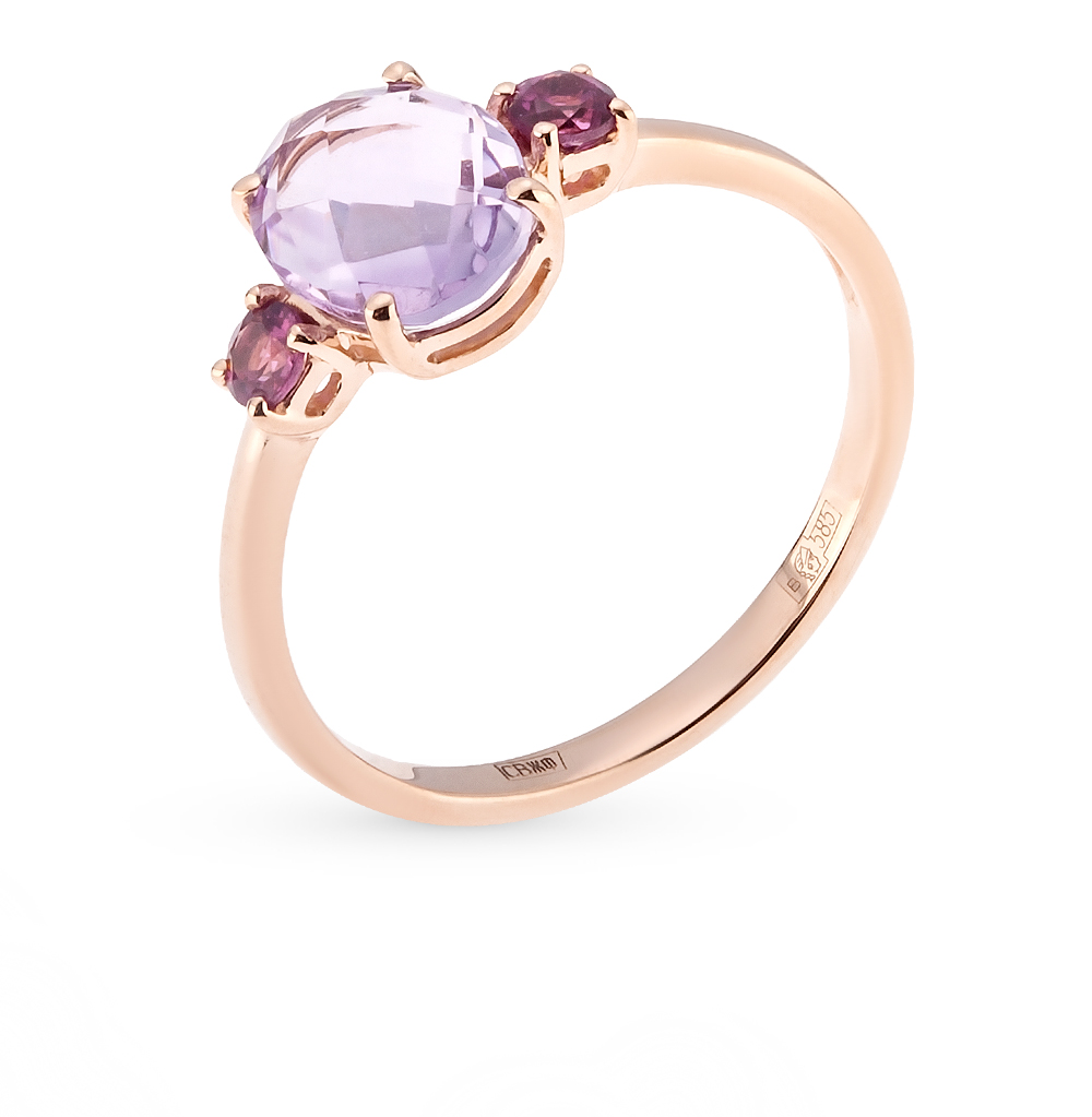 Фото «золотое кольцо с аметистом и родолитами»