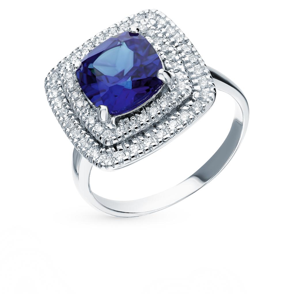 Серебряное кольцо с сапфиром и фианитами в Екатеринбурге