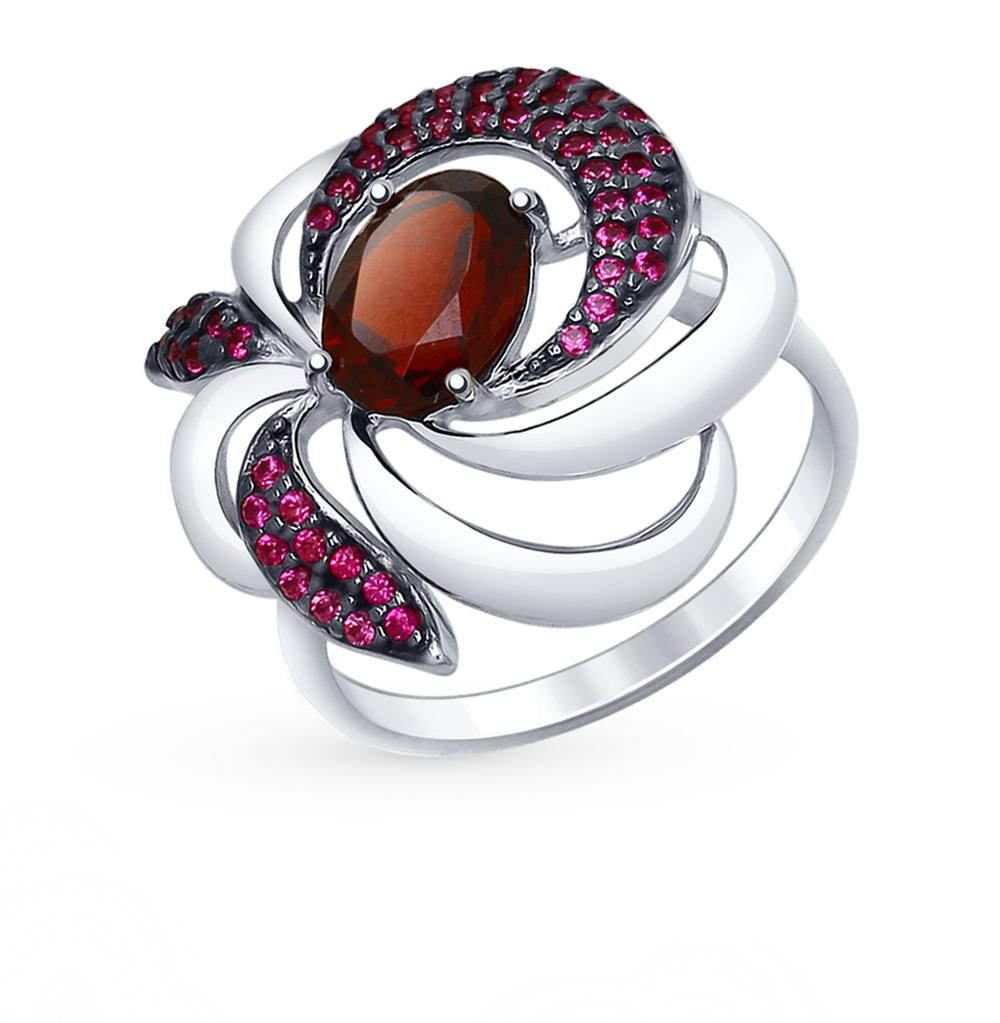 серебряное кольцо с фианитами и гранатом SOKOLOV 92011427