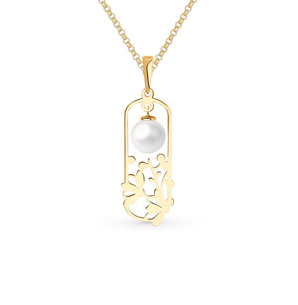 золотая подвеска с жемчугом SOKOLOV 793103*