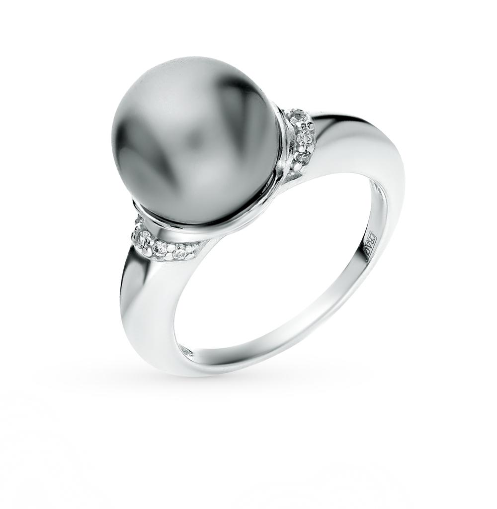 серебряное кольцо с фианитами и жемчугом SOKOLOV 94011937