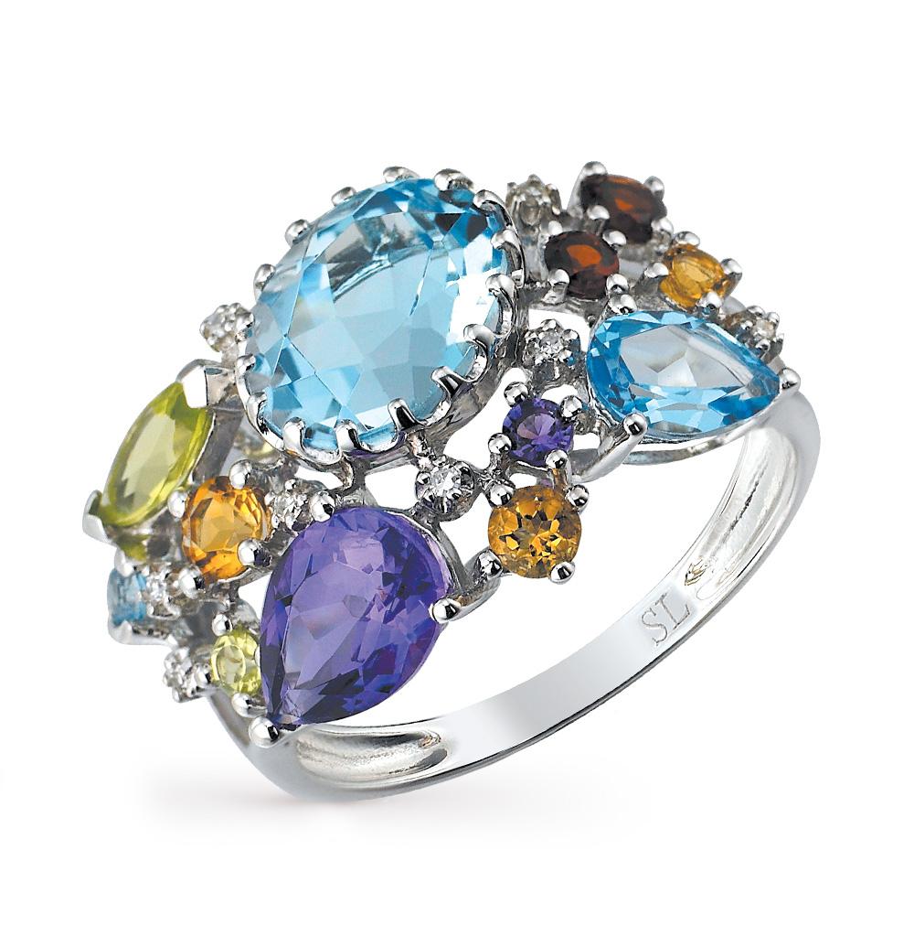 золотое кольцо с цитринами, топазами, гранатом, аметистом, хризолитом и бриллиантами