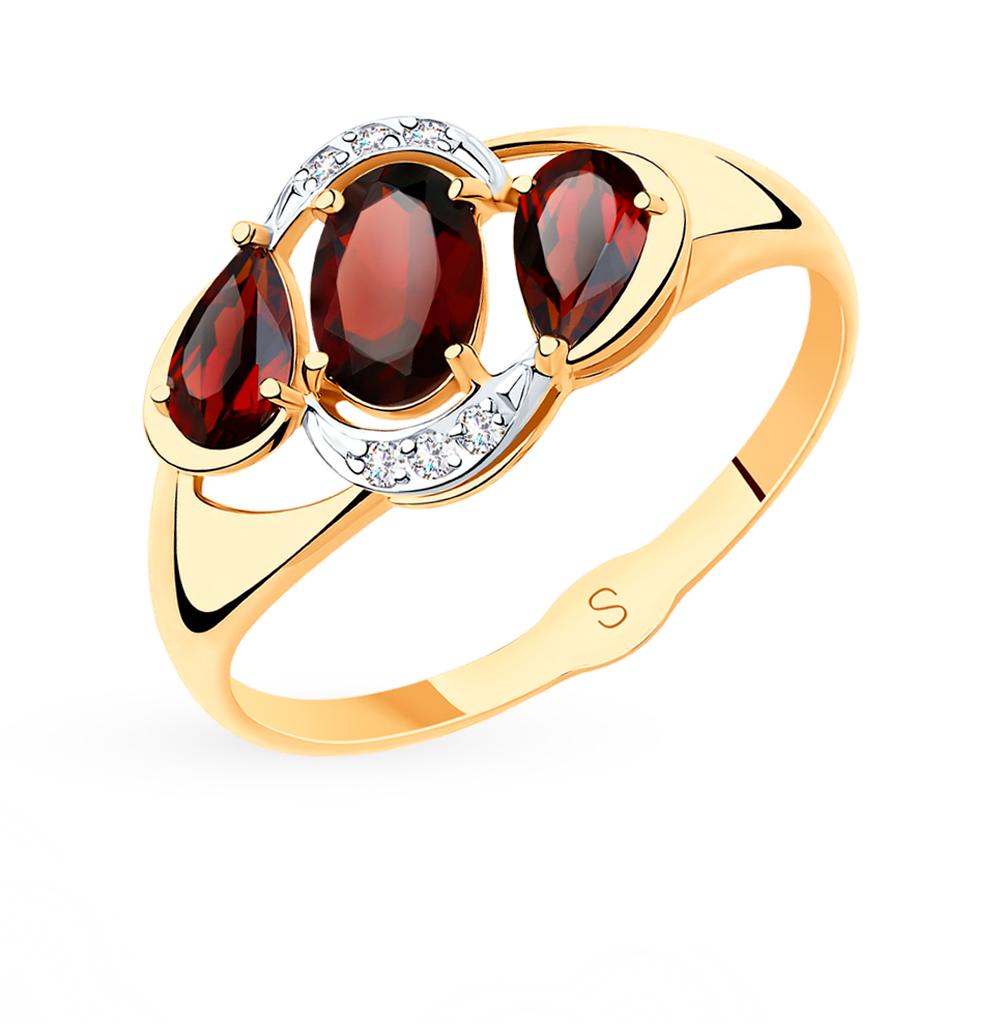 Фото «Золотое кольцо с фианитами и гранатом SOKOLOV 715511*»