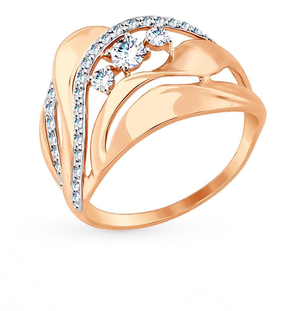 золотое кольцо с фианитами SOKOLOV 017501*