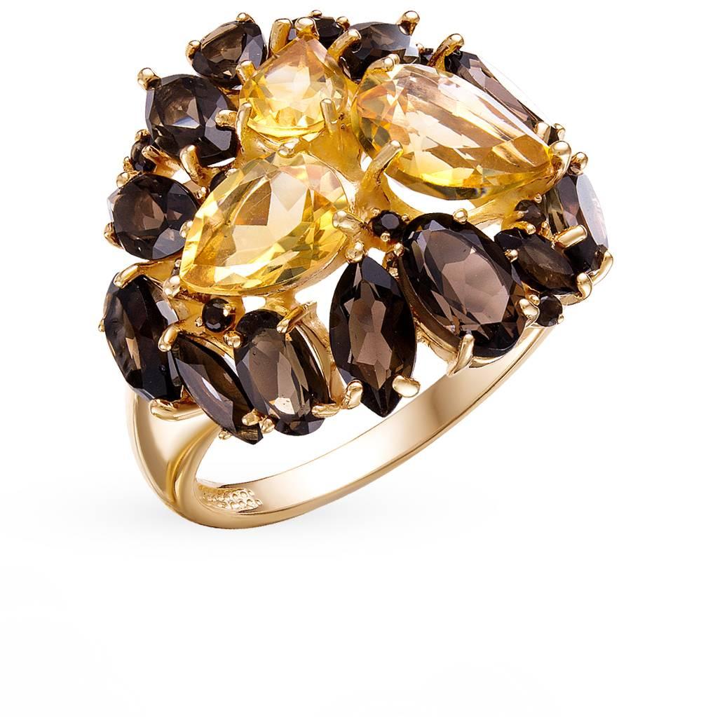 золотое кольцо с кварцем и цитринами