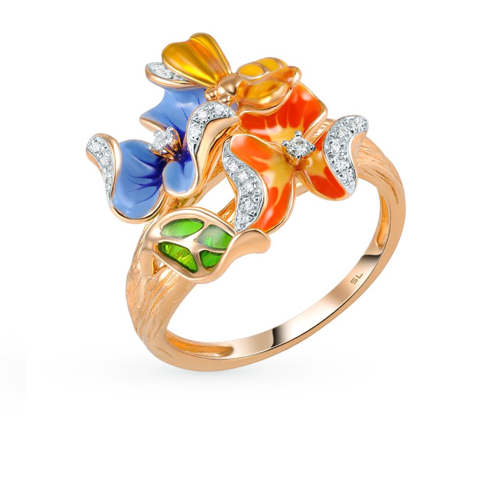 Фото «золотое кольцо с эмалью и бриллиантами»