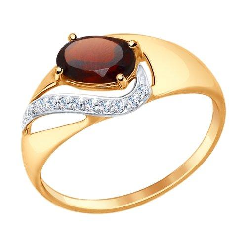 Фото «Золотое кольцо с фианитами и гранатом SOKOLOV 714672*»