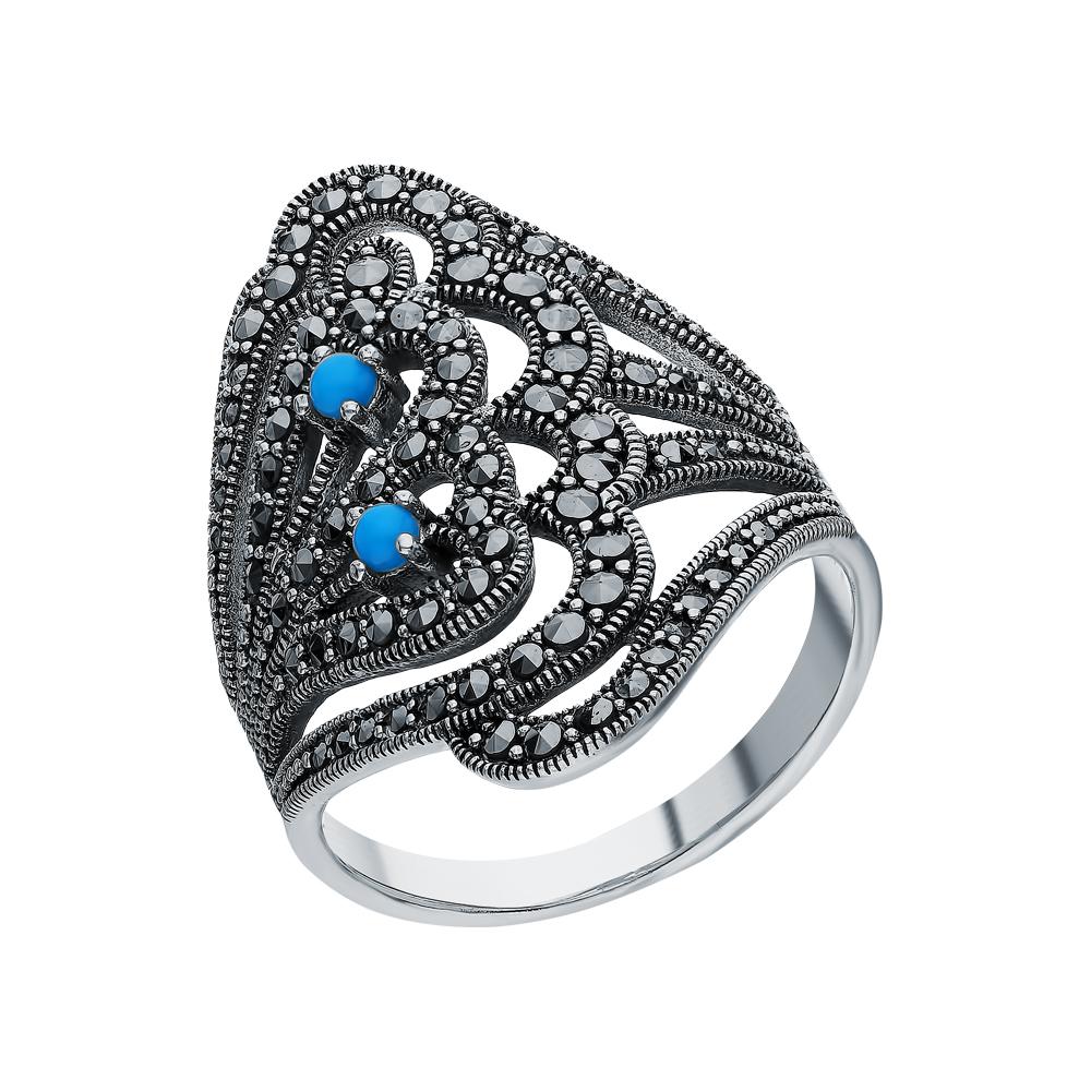 Серебряное кольцо с бирюзой и марказитами swarovski в Санкт-Петербурге