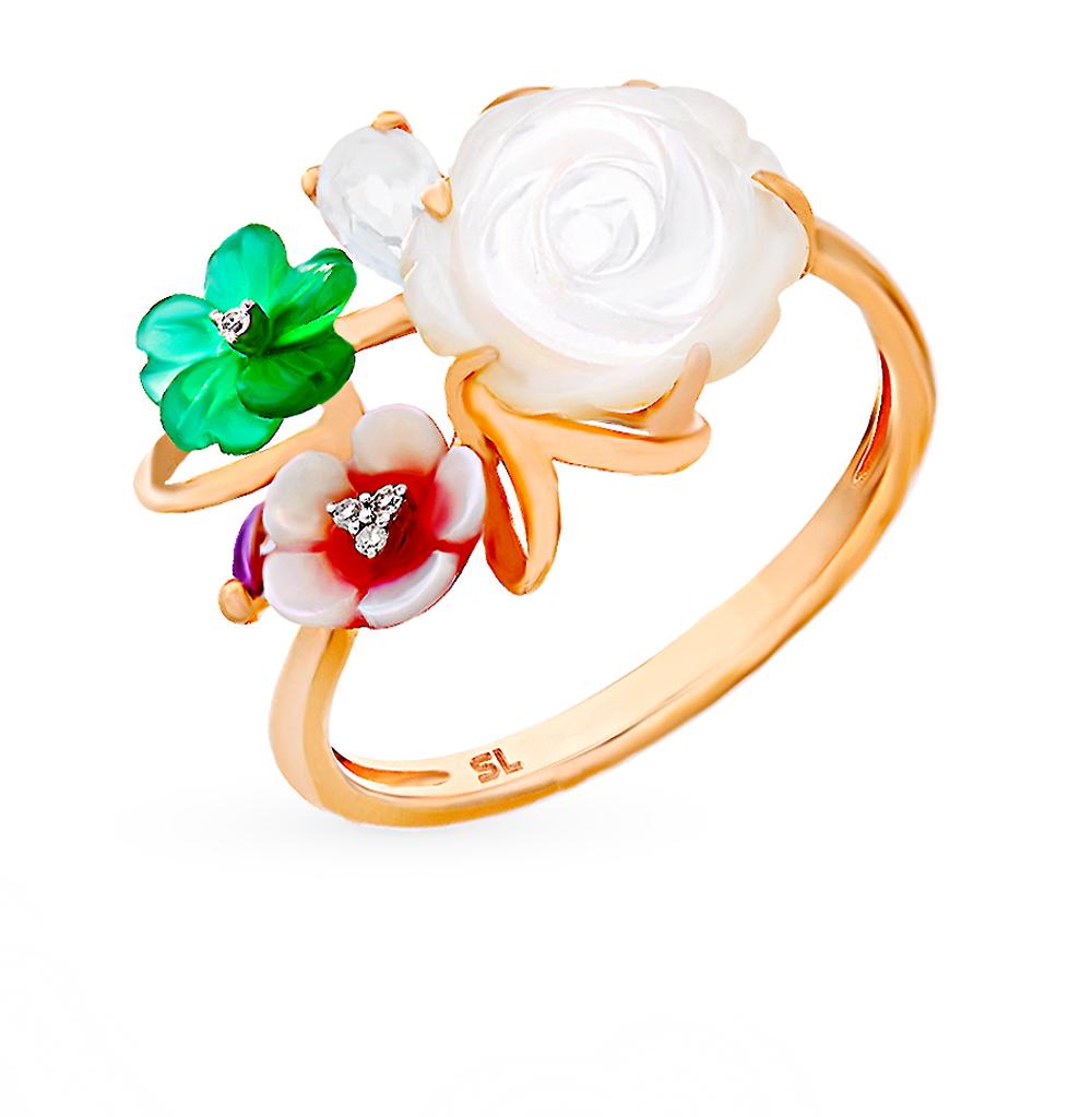 золотое кольцо с аметистом, агатом и бриллиантами