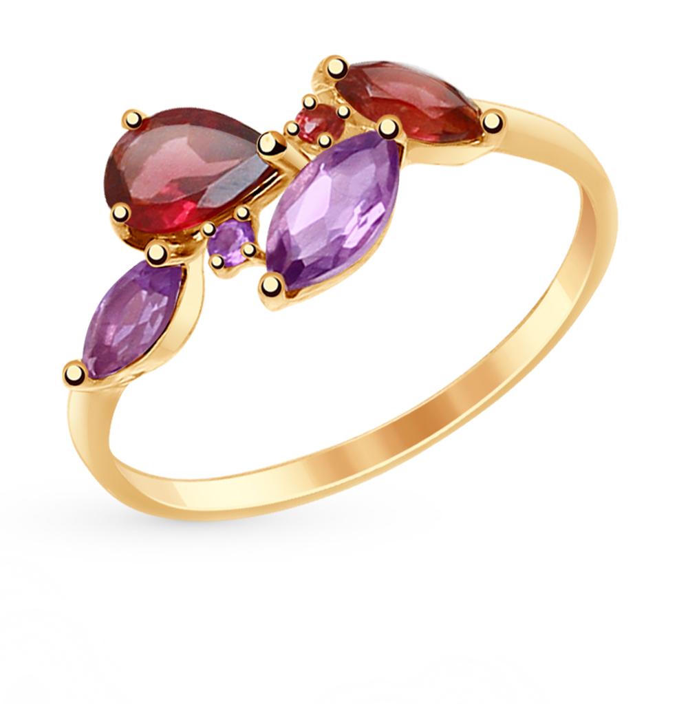 золотое кольцо с родолитами и аметистом SOKOLOV 714821*