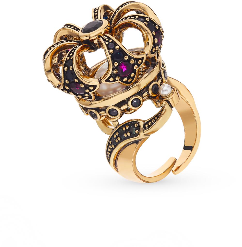 стальное кольцо со шпинелью, корундом, фианитами и жемчугом