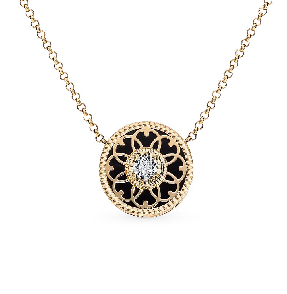 золотое шейное украшение с агатом и бриллиантами
