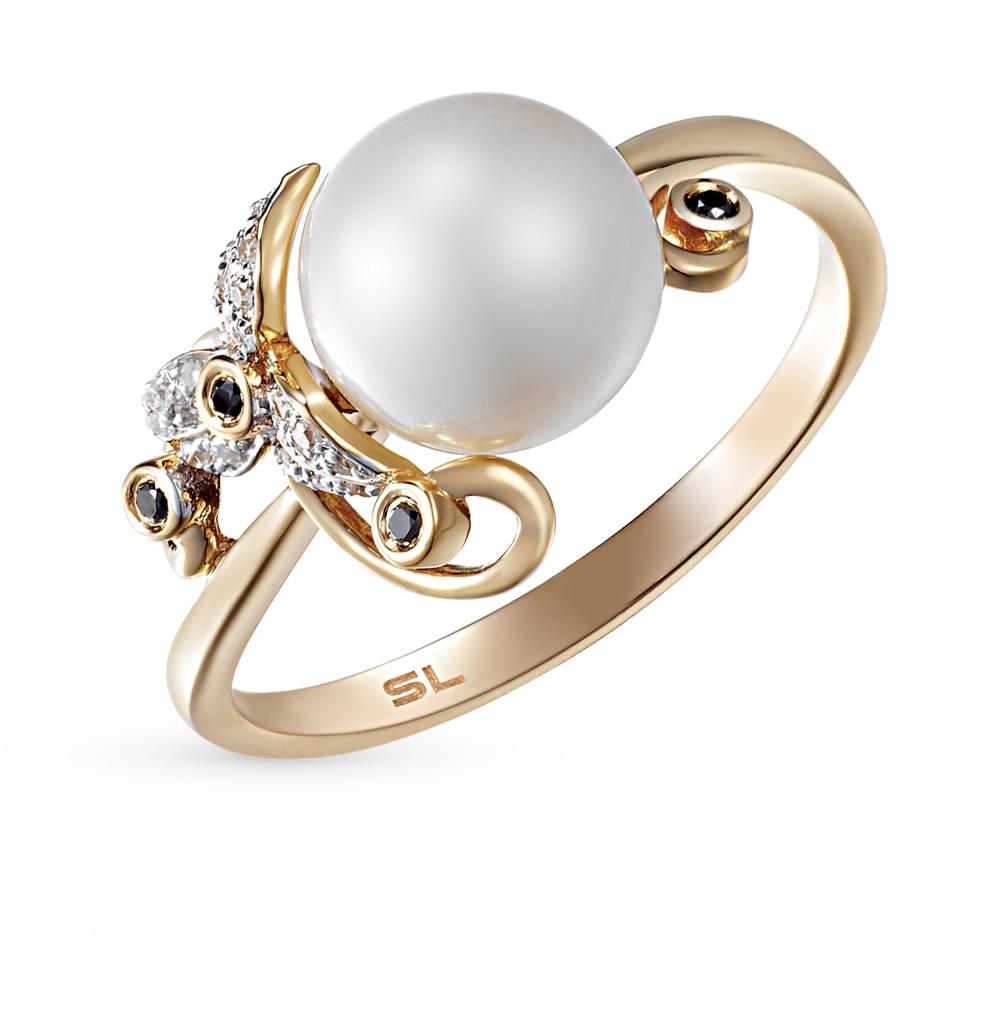Фото «золотое кольцо с чёрными бриллиантами, жемчугом и бриллиантами»