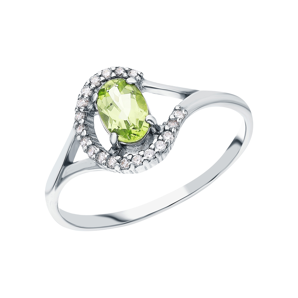 Серебряное кольцо с хризолитом и кубическими циркониями в Екатеринбурге