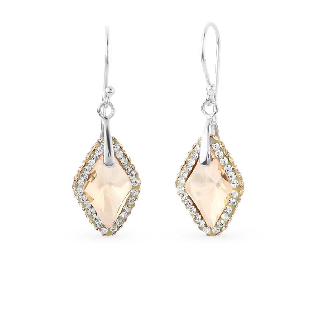 Фото «серебряные серьги с алпанитом и кристаллами swarovski»