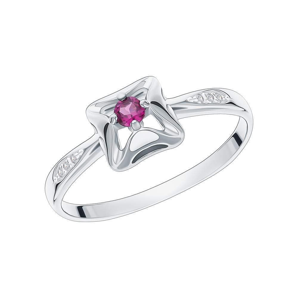 Фото «Серебряное кольцо с родолитами и фианитами»