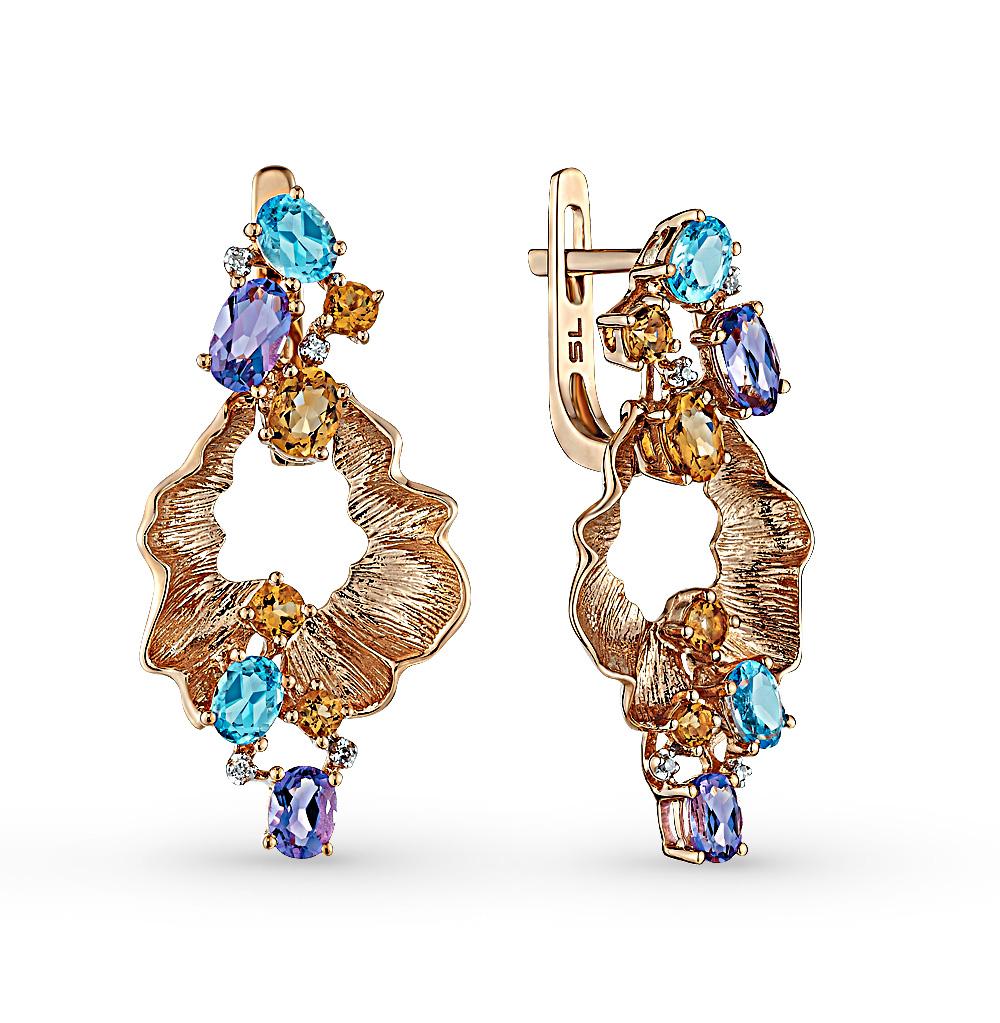 Фото «золотые серьги с аметистом, цитринами, топазами и бриллиантами»