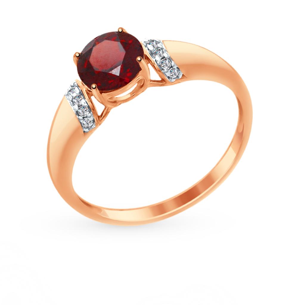 золотое кольцо с фианитами и гранатом SOKOLOV 714960*