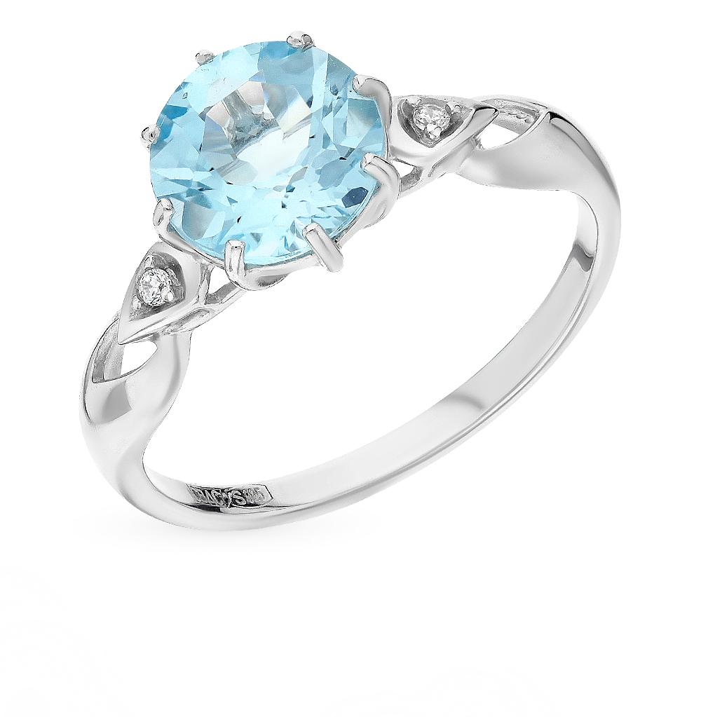 серебряное кольцо с топазами и фианитами SOKOLOV 92011086