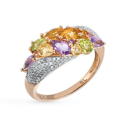 Фото «Золотое кольцо с хризолитом, аметистом, цитринами и бриллиантами»