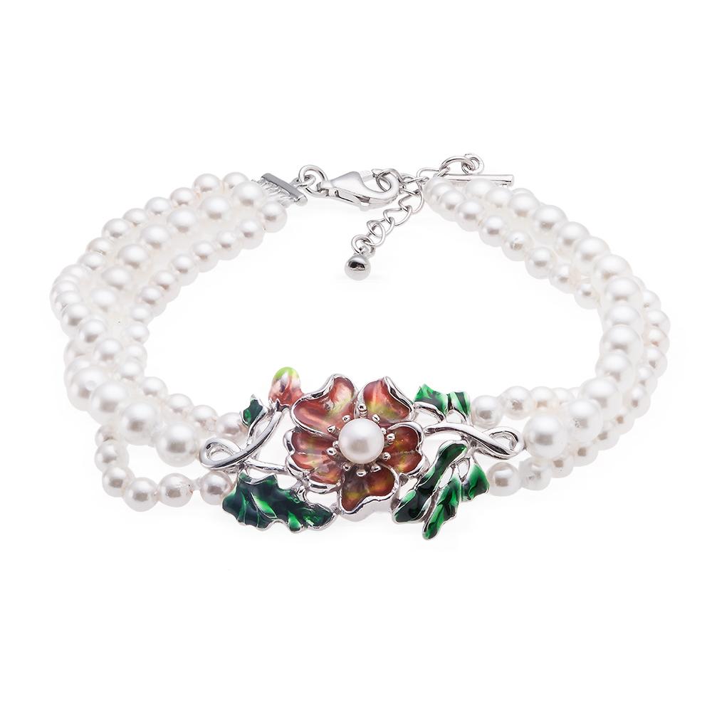 Фото «серебряный браслет с эмалью и жемчугом»