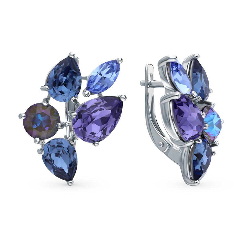 серебряные серьги с кристаллами SOKOLOV 94023709