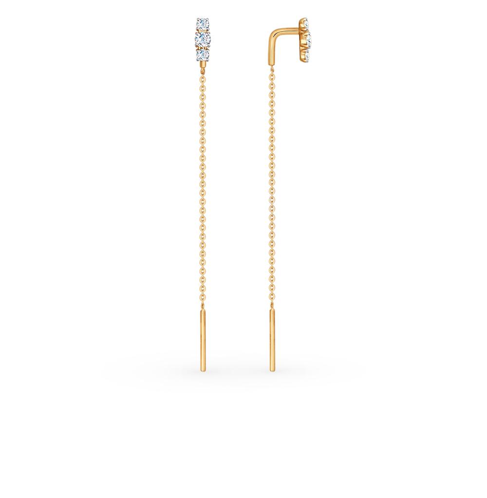 золотые серьги с фианитами SOKOLOV 027183*