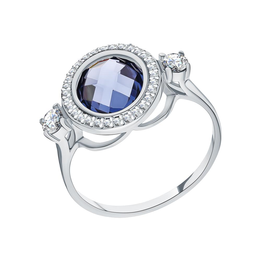 Серебряное кольцо с фианитами и топазами имитациями в Екатеринбурге