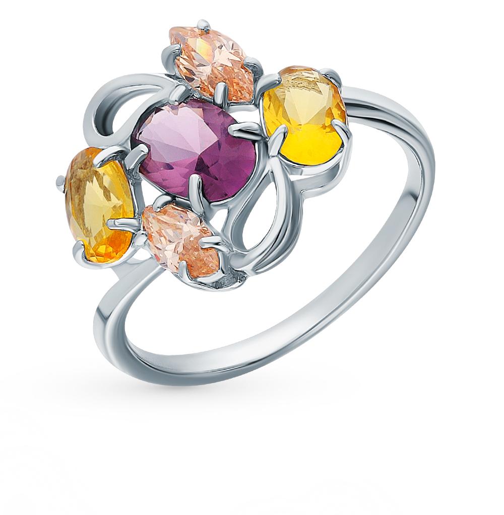 Серебряное кольцо с аметистом, морганитами и цитринами в Екатеринбурге