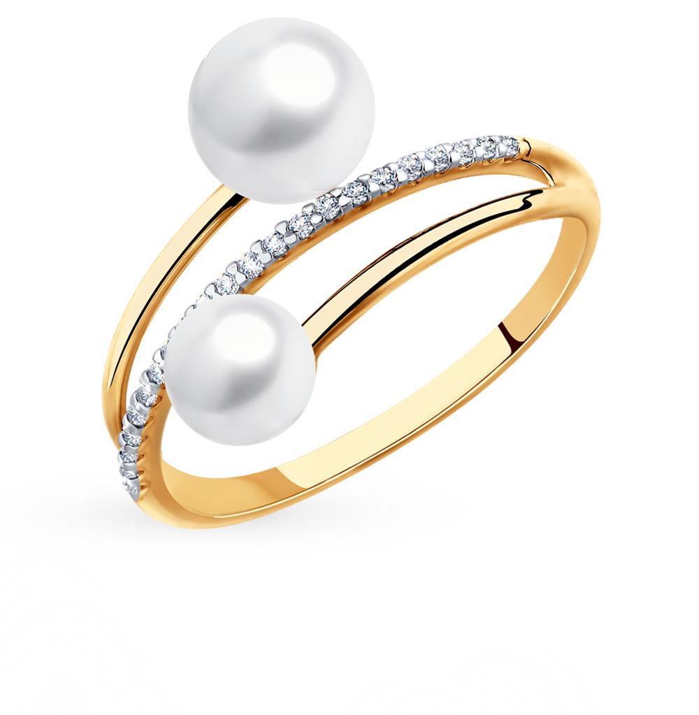 золотое кольцо с фианитами и жемчугом SOKOLOV 791112