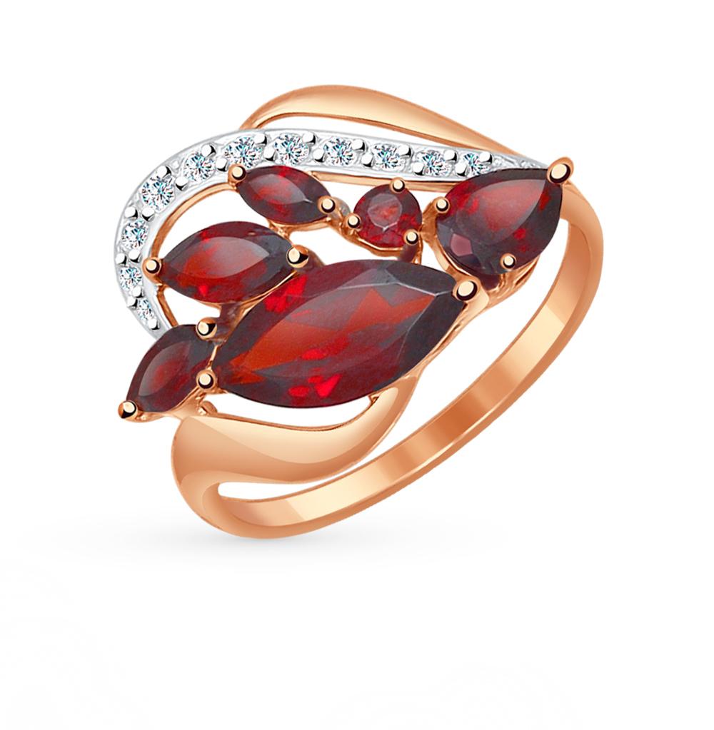 золотое кольцо с фианитами и гранатом SOKOLOV 714500*