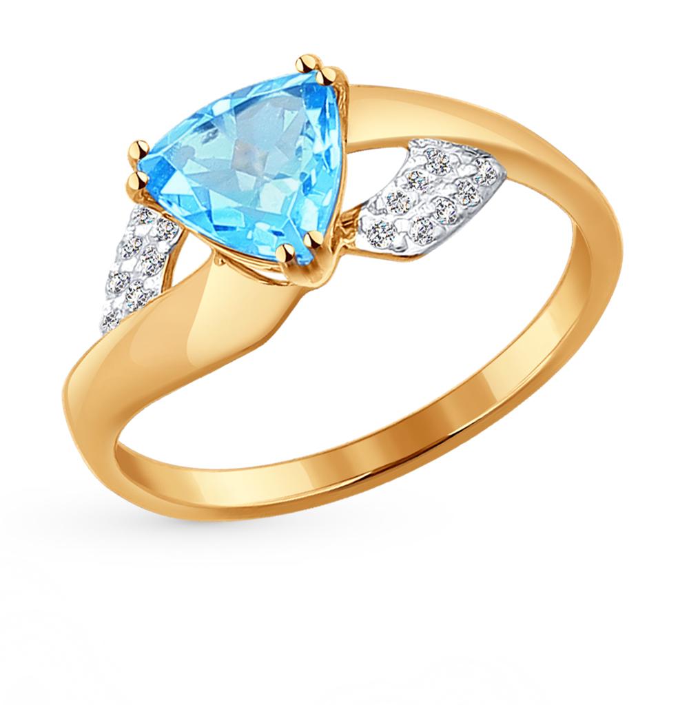 золотое кольцо с фианитами SOKOLOV 714235*