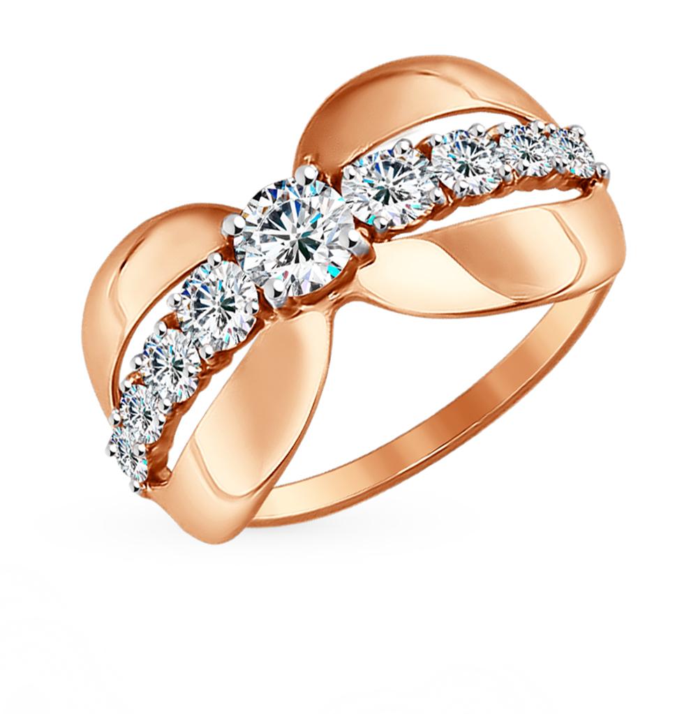 золотое кольцо с фианитами SOKOLOV 017315